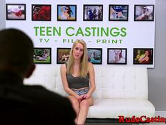 Brutal casting for squirting ballgagged teen