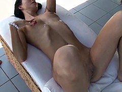 Skinny Brunette gets cumcovered by group