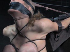 Blindfolded sub with big tits gagging in bdsm