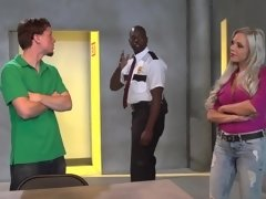 A hot milf with big tits is visiting her stepson in the prison
