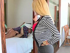 Mom finds her step-daughter getting fucked