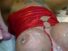 german busty tattooed babe in gangbang