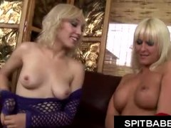 Hot blonde with pierced nipples spitting on lesbian girlfriend