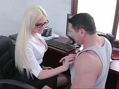 Blonde, Lunettes, Mère que j'aimerais baiser, Bureau, Secrétaire, Jarretelles