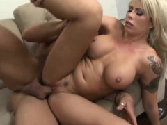 Stacked blonde bombshell gets her tits creamed