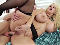 tantalizing blonde with huge boobs wants to ride her partner's cock