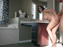 Reagan Foxx asks Jessy Jones to fuck her well in the kitchen