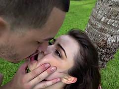 Bonded teen girlfriend railed rough outdoors