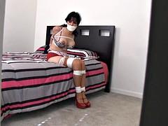Housewife in bedroom