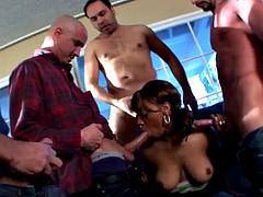 Ebony Gangbang by 4 cocks