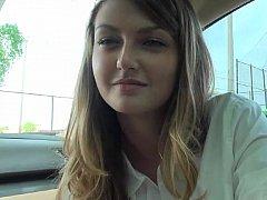 18, 素人, フェラチオ, 車, カップル, 彼女, 現実, ティーン
