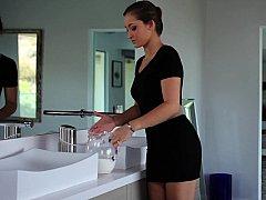 浴室, フェラチオ, 茶髪の, シャワー, ガリガリ, ストリップ, ティーン, 濡れ