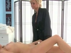 Super sexy lez masseuse strips down & gets soaked for hot model
