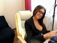 Czech Secretary fingers in stockings