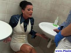 Toilet lady piss drenched and facialized