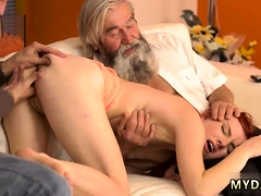 Old man fucks compeer' comrade's step daughter and young
