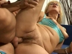 Excited Mom Female Spreads Her Hirsute Love hole For Some Young Knob