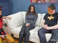 Shy teen dominated by a bdsm duo in a hospital