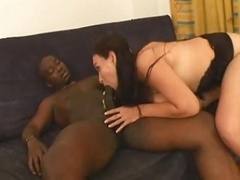 Sexy Sizeable Boobs Brunette  take Black cum cannon in vagina
