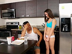 Horny daughter disturbs her step dad