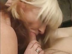 Excited saggy aged nailed in a threesome