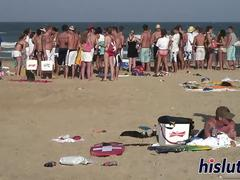 Babes have fun at the beach