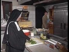German nun assfucked in kitchen