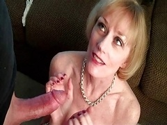 Sexually available mom Mel sucks, makes love and gets a mouthful of cum