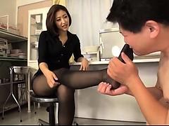 Asiatisch, Fußfetisch, Japanische massage, Nylon