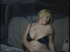 Aroused Weighty Curvy Party Babe wanking in Taxi Cab