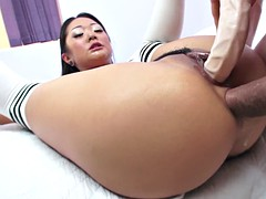 saya song gets her holes fucked with dildo and hard cock