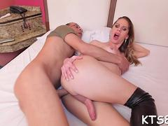 slutty shemale rides cock madly feature clip 1