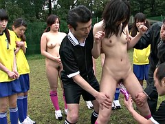 Morena, Grupo, Japonés, Al aire libre, Público, Adolescente, Tetas, Juguetes