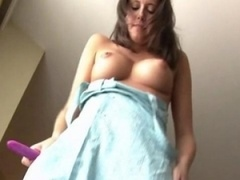 Amanda sweet big-breasted brunette lady toying muff with a toy