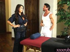 Massive boobs officer massage and fucked by her masseur