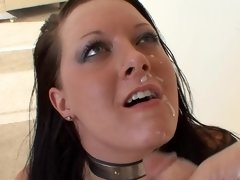 Collared sub girl with curves sucks off his cock for cum