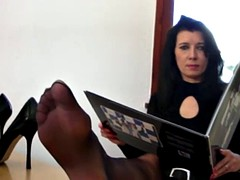 heels and black stocking foot tease in the office