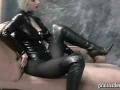 Hot busty and very kinky babes put on sexy leather boots then tease and finger pussy