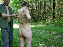 outdoor bondage hogtied video shibari soumise sandy