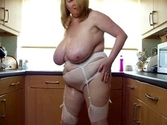 sexy real bbw mature play with her huge boobs in kitchen