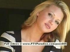 Svetlana good-looking blonde broad drinks cofee