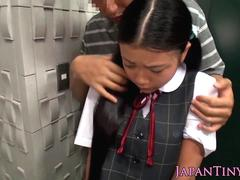Japanese schoolgirl titfucked and facefucked