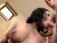 A cock starved cougar is getting her pussy on a big cock
