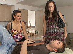 茶髪の, 顔面騎乗, 女 人男 人, グループ, ハードコア, ティーン, 三人