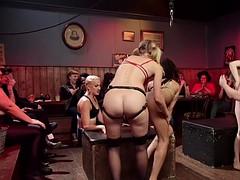 Lesbian bdsm orgy in dyke bar