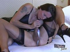 Nylon Jane sucks amazing big cock before fucking TGirl pussy and jerking her off