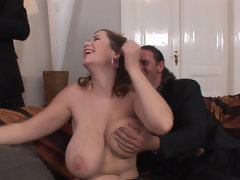 Busty Terra Nova anal threesome with a cumshots on big boobs