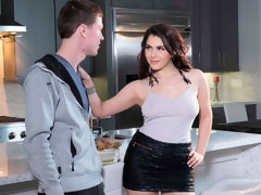Angelic doll in stockings Valentina Nappi fucks with a young man