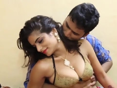 Real exotic Indian mom with big natural tits and her husband
