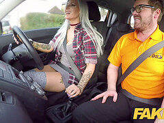 faux Driving college Busty goth learner in anal and sex playthings lesson finale
